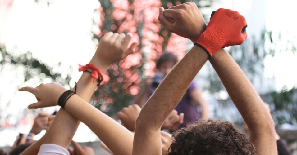 05.mai.2016 - Estudantes continuam ocupando Centro Paula Souza, na região central de São Paulo, nesta quinta-feira (5). Eles protestam contra a 'máfia da merenda' e contra os cortes na educação