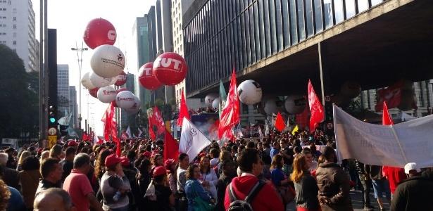 Centrais sindicais realizam manifestação na avenida Paulista nesta quinta-feira (22)