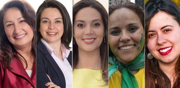 Da esquerda para a direita: Rute Costa, Aline Cardoso, Adriana Ramalho, Janaina Lima e Sâmia Bonfim