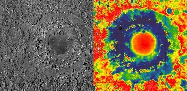 """A cratera oriental da Lua (esq.), com cerca de 930 km de largura, tem três anéis distintos, que formam uma espécie de """"alvo"""". O mapa de cor (dir.) mostra a força da gravidade na superfície em torno da cratera"""