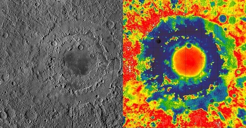 28.out.2016 - A cratera oriental da Lua (esq.), com cerca de 930 km de largura, tem três anéis distintos, que formam uma espécie de