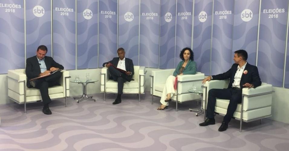19.set.2018 - candidatos ao governo do Rio se encontram no debate UOL/SBT/Folha