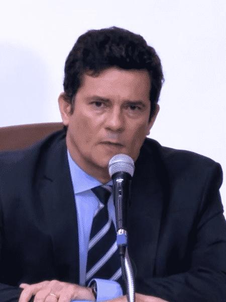 24.abril.2020 - Sergio Moro durante entrevista coletiva após exoneração de diretor da PF - Reprodução/TV Globo