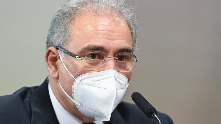 6.mai.2021 - O ministro da Saúde, Marcelo Queiroga, em depoimento à CPI da Covid no Senado - Jefferson Rudy/Agência Senado