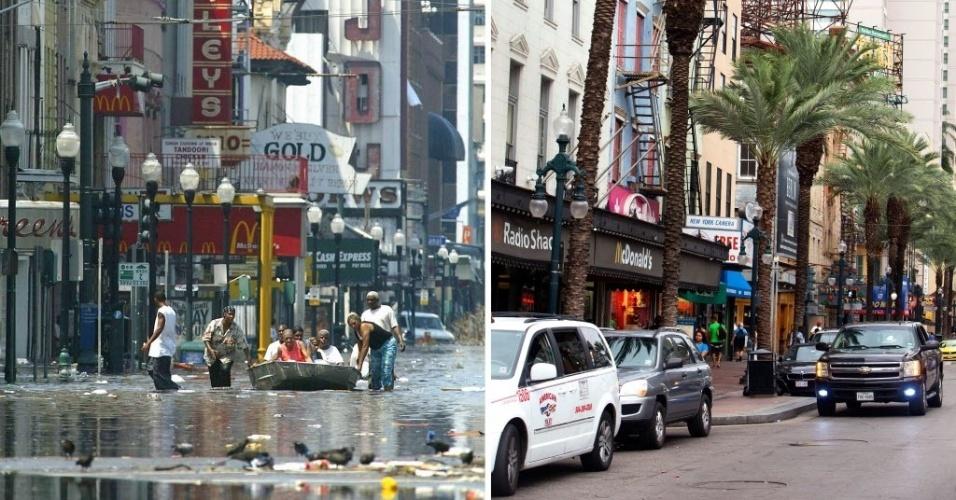 21.ago.2015 - Combinação de imagens mostra a cidade de Nova Orleans, Louisiana (EUA) após a passagem do furacão Katrina, em 31 de agosto de 2005, e reconstruída em 16 de agosto de 2015. Há dez anos o furacão Katrina varreu edifícios, alagou quase totalmente a cidade e causou mais de 1.800 mortes