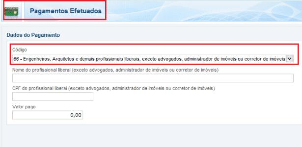 PAGAMENTOS EFETUADOS LINHA 66 IR 2016 - Reprodução - Reprodução
