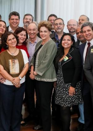 A presidente afastada, Dilma Rousseff, com integrantes do Diretório Nacional do PT