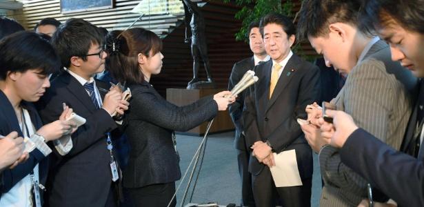 24.abr.2017 - O primeiro-ministro japonês, Shinzo Abe