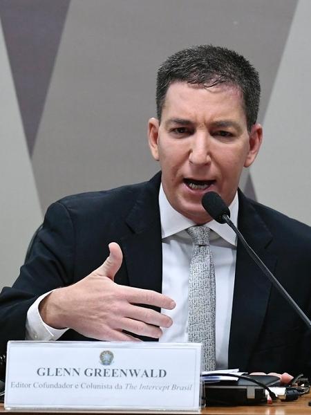 11.jul.2019 - Glenn Greenwald, jornalista e fundador do site The Intercept, em audiência na CCJ do Senado - Marcos Oliveira/Agência Senado