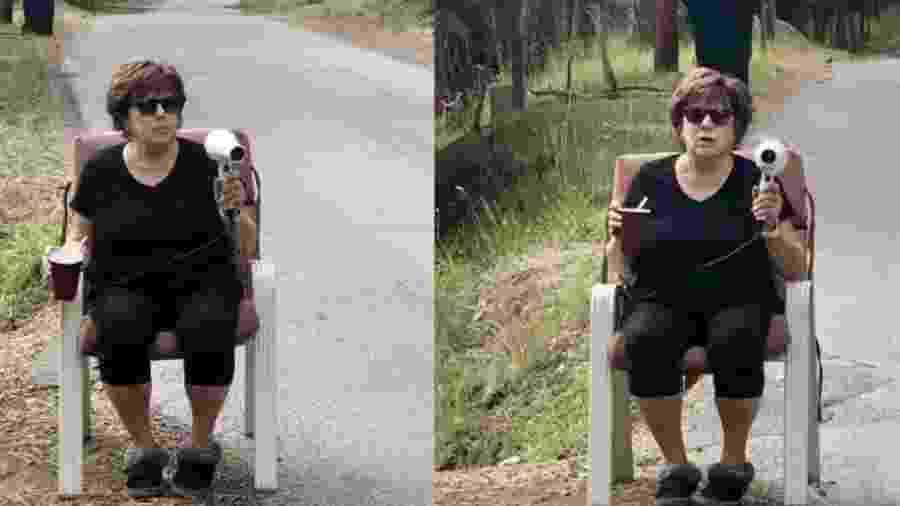"""Patti Baumgartner com o seu """"radar móvel"""" em Montana (EUA) - Reprodução/Twitter"""