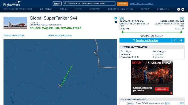 O site FlightAware mostra trajeto do Boeing 747 da empresa Global SuperTanker - Reprodução/FlightAware