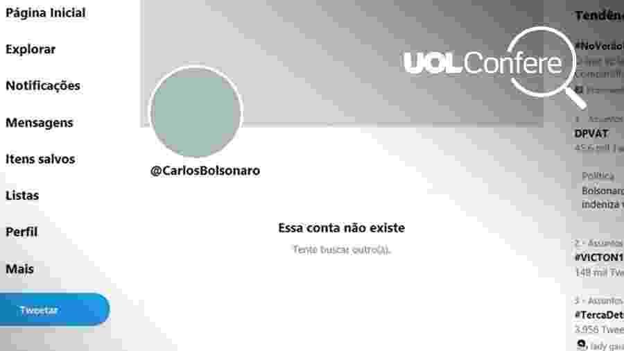 Perfil de Carlos Bolsonaro no Twitter aparece sem posts nesta quarta-feira (12) - Reprodução