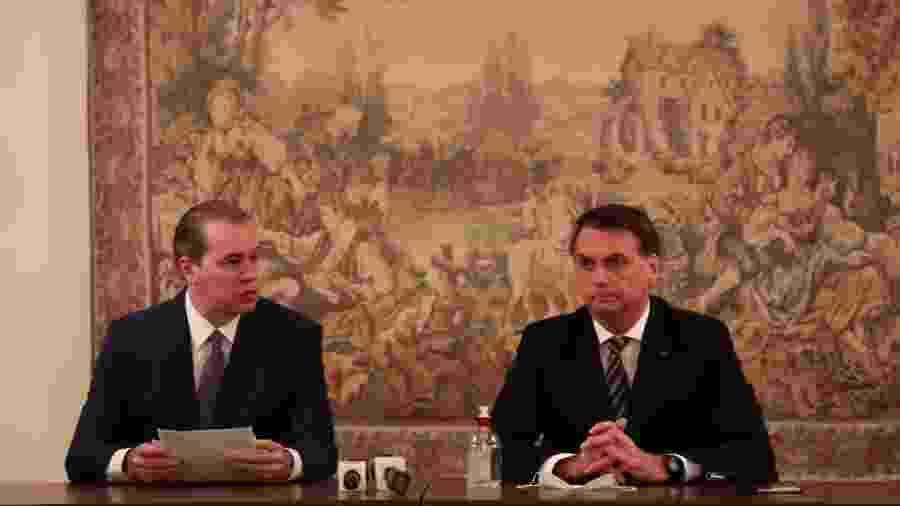 7.mai.2020 - O presidente do STF, Dias Toffoli, recebe o presidente Jair Bolsonaro em visita ao prédio do Supremo - Marcos Corrêa/Presidência da República