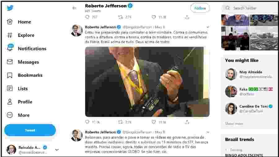Roberto Jefferson publica uma foto segurando um fuzil e diz estar pronto para a luta. Antes e depois desse tuíte, críticas violentas ao Supremo. Pede a Bolsonaro que demita os 11 ministros. É crime! - Reprodução/Twitter