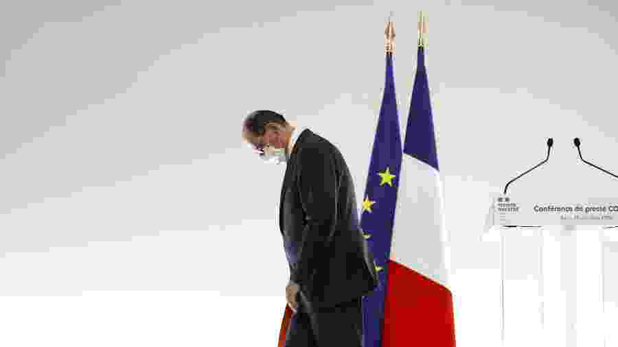 29.out.2020 - O primeiro-ministro francês Jean Castex deixa coletiva de imprensa sobre novo lockdown por causa da covid-19  - Pool/AFP