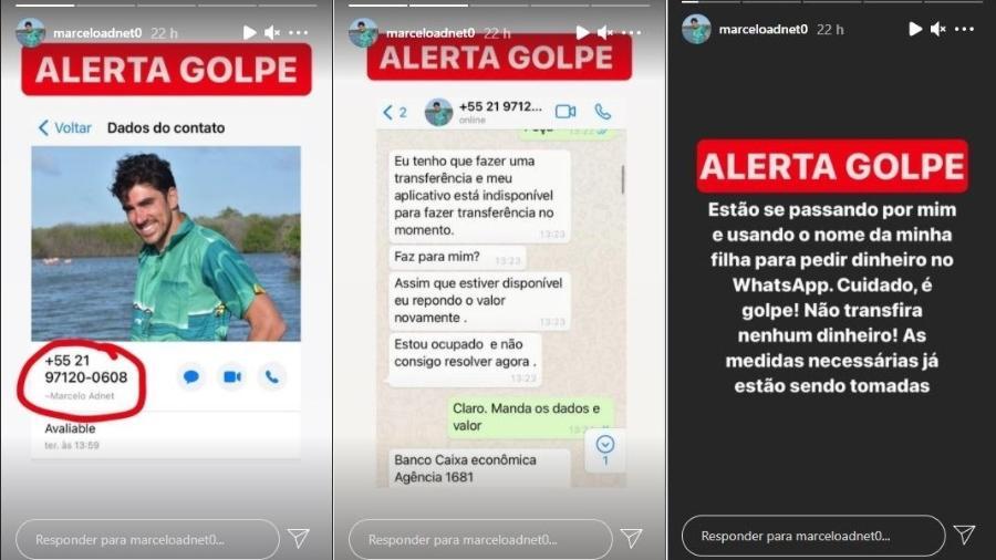 Ator Marcelo Adnet denuncia no Instagram Stories perfil falso que usa seu nome e foto para pedir dinheiro - Reprodução