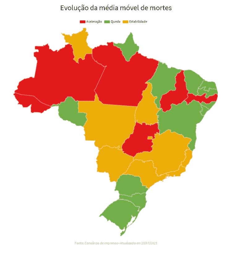 25.07.2021 - Mapa do cenário das mortes pela covid-19 no Brasil - UOL - UOL