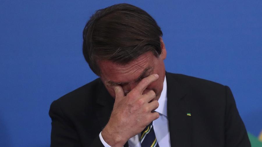 1º.out.2021 - O presidente Jair Bolsonaro (sem partido), durante cerimônia no Palácio do Planalto, em Brasília - Gabriela Biló/Estadão Conteúdo
