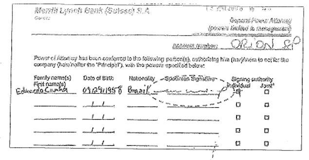 Cópias de passaporte e assinatura de Cunha foram usadas para abrir contas