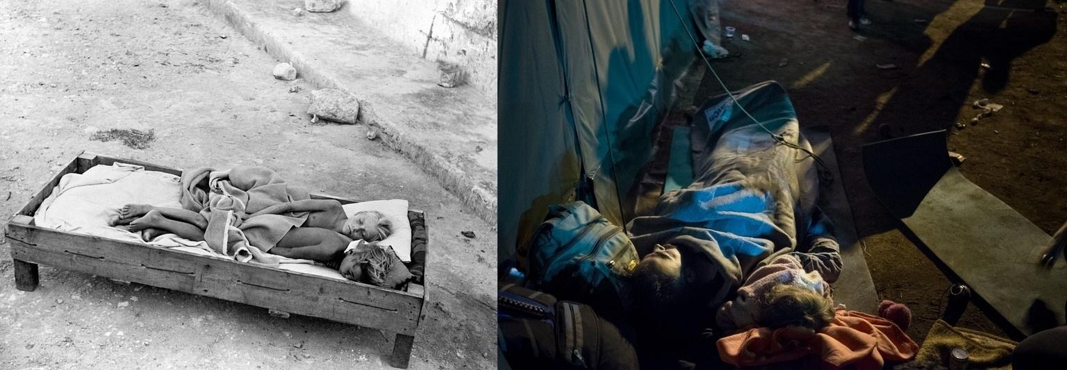 Duas crianças dormem em uma cama improvisada ao ar livre na Itália aproximadamente no ano de 1945. Já na Croácia, em 2015, é um adulto e uma criança que compartilham uma cama improvisada