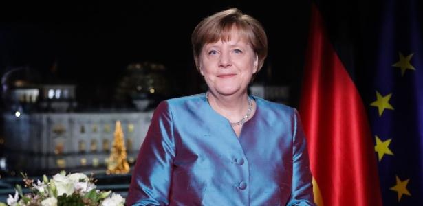 A chanceler (premiê) alemã, Angela Merkel, em mensagem de Ano-Novo, em Berlim - Markus Schreiber/AFP