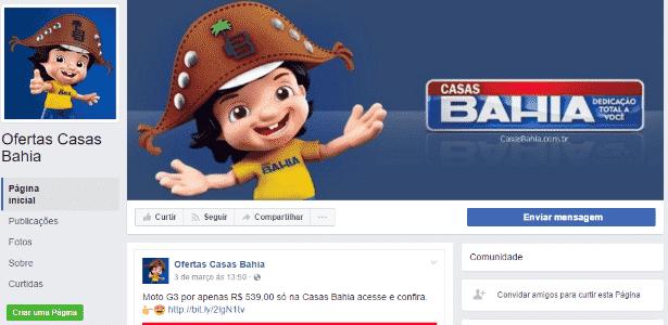 Página falsa das Casas Bahia no Facebook - Reprodução/PSafe - Reprodução/PSafe