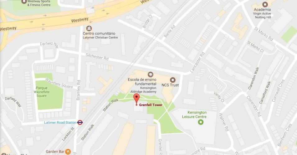 14.jun.2017 - Mapa da localização do prédio Grenfell Tower, atingido por incêndio de grandes proporções na madrugada deste 14 de junho