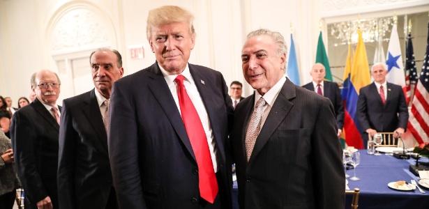 18.set.2017 - Donald Trump E Michel Temer durante jantar com presidentes latino-americanos em Nova York, no ano passado