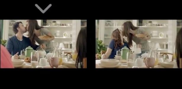 Um dos vídeos reprovados pelo Conar exibia duas famílias em cenas muito parecidas - Reprodução