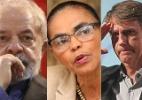 Prisão enfraquece Lula e põe Marina perto de Bolsonaro, diz Datafolha - Montagem UOL