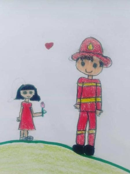 Desenho de criança entregue aos bombeiros em Brumadinho (MG) - Divulgação/Corpo de Bombeiros de Minas Gerais