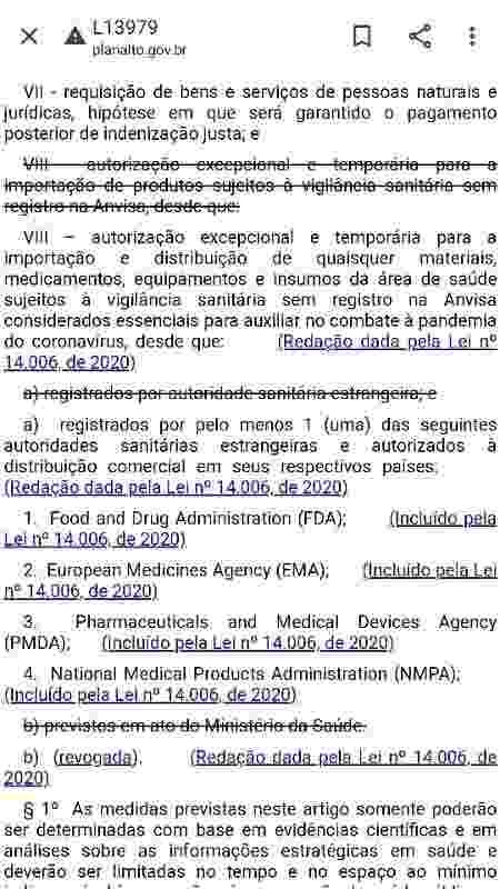 Trecho da lei 13979 que permite a autorização provisória de remédios e insumos destinados ao combate à covid-19 sem autorização da Anvisa - Reprodução - Reprodução