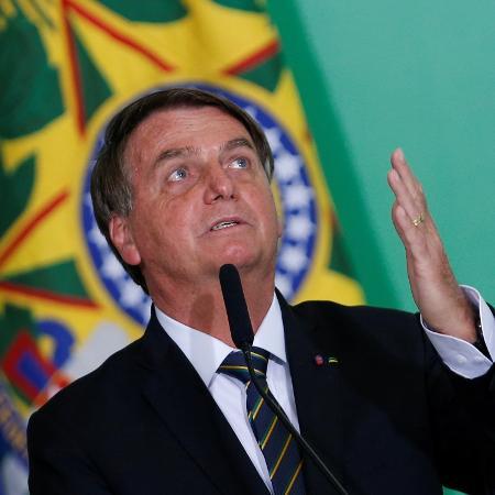 10.jun.2021 - O presidente Jair Bolsonaro (sem partido) durante cerimônia no Palácio do Planalto, em Brasília - Adriano Machado/Reuters