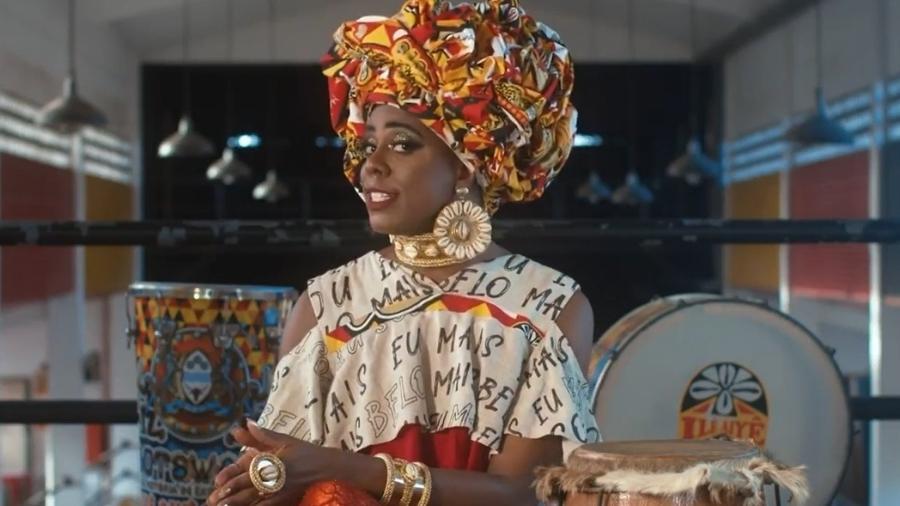 Koanza Aundê, personagem do ator Sulivã Bispo, na sede do Ilê Aiyê (2020)  - Reprodução