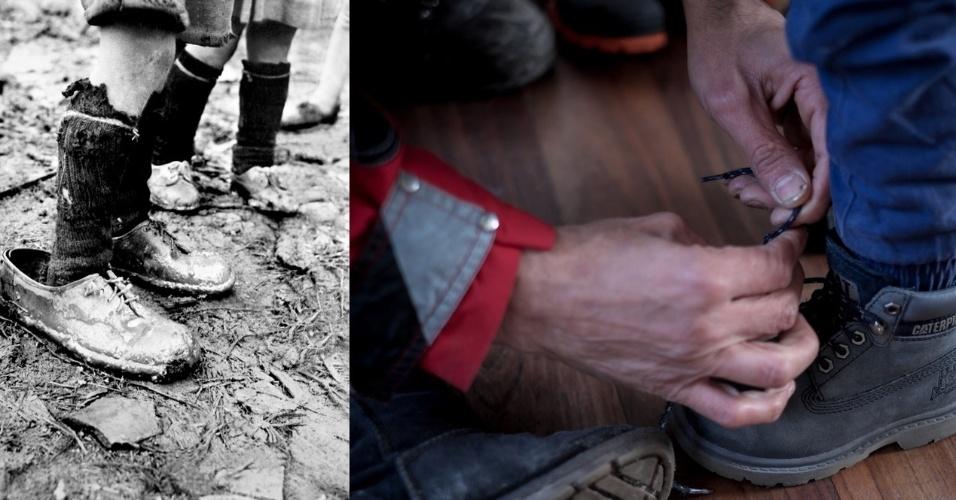 Em 1950, um garoto refugiado foi obrigado a utilizar um sapato bem maior do que o seu tamanho na Grécia. Exatos 65 anos mais tarde, um menino teve mais sorte e viu seu pai amarrar cadarço de um sapato próprio para ele, após receber roupas da Unicef