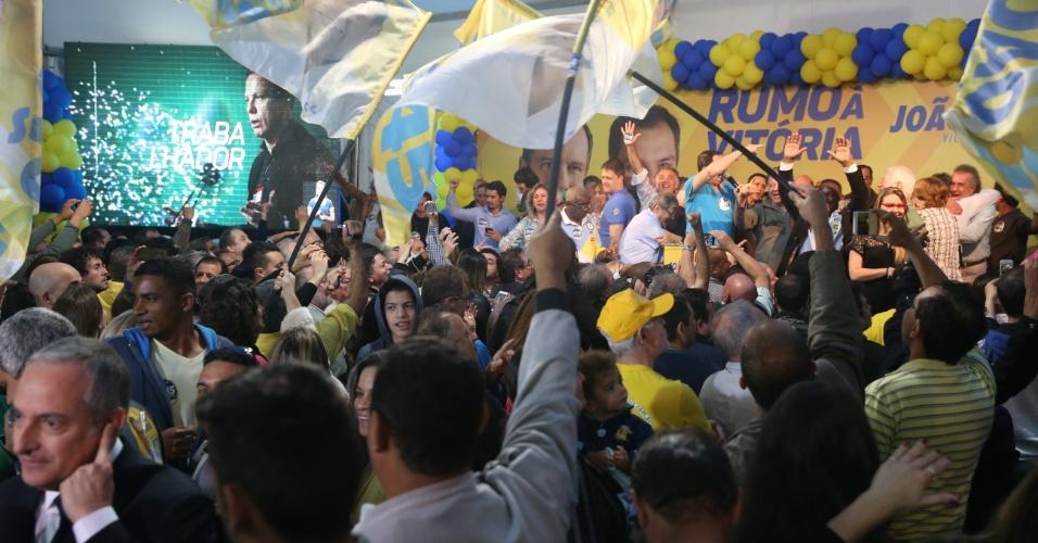 Comitê eleitoral do candidato João Doria (PSDB) comemora a vitória no primeiro turno das eleições municipais de São Paulo