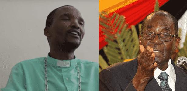 """O """"profeta""""  Patrick Mugazda (esq.) e Robert Mugabe, presidente do Zimbábue - Montagem com reprodução de vídeo e Reuters"""