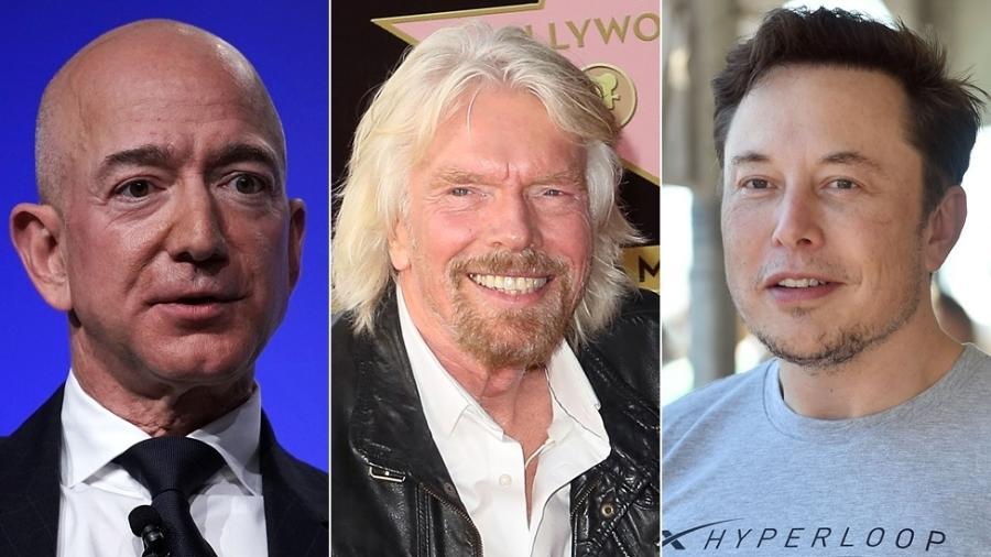 Jeff Bezos, Richard Branson e Elon Musk fizeram fortuna em outros ramos, como a indústria da música e a internet, e querem ser os primeiros a mandar turistas ao espaço - Getty Images