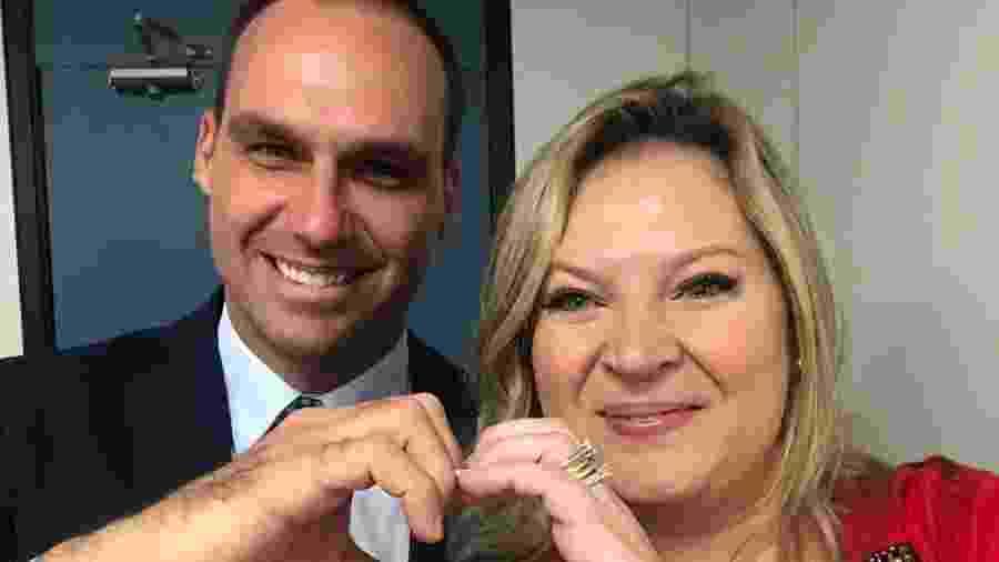 11.nov.2018 - Joice Hasselmann e Eduardo Bolsonaro, que ficaram em lados opostos no racha do PSL  - Reprodução/Twitter Joice Hasselmann