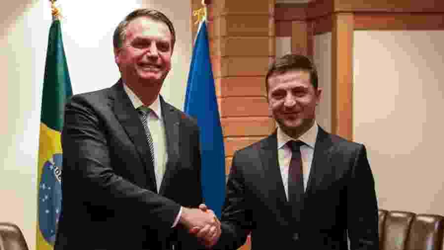 O presidente Jair Bolsonaro durante reunião Bilateral com o Presidente da Ucrânia, Volodymyr Zelenski - José Dias/PR