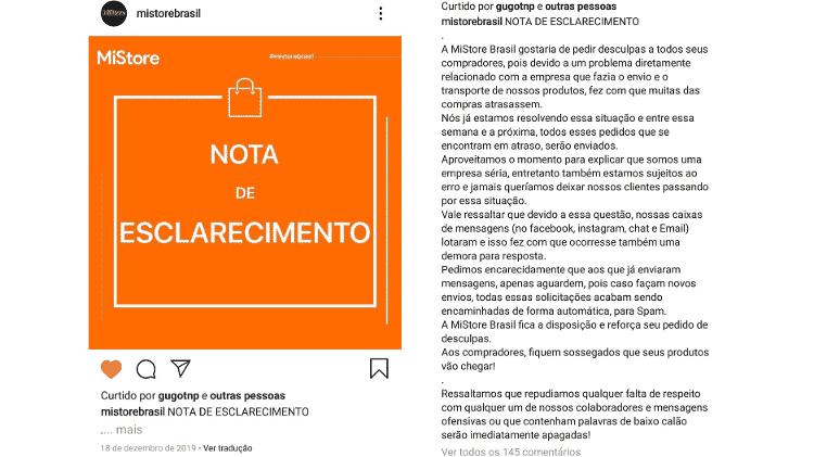 Nota de esclarecimento da Mi Store Brasil no Instagram, que prometia a entrega de produtos atrasados - Reprodução - Reprodução
