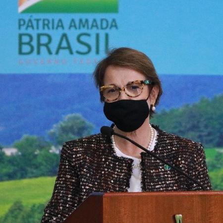 17.jun.2020 - A Ministra da Agricultura, Tereza Cristina, durante o lançamento do Plano Safra 2020/2021 - Frederico Brasill / Estadão Conteúdo