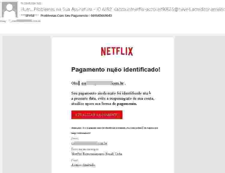 Email falso que usa Netflix como isca - Reprodução - Reprodução