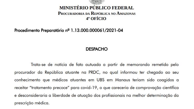 Portaria do MPF determina a abertura de inquérito civil para apurar improbidade do Ministério da Saúde na priorização da cloroquina em detrimento do abastecimento de oxigênio do Estado - Reprodução - Reprodução