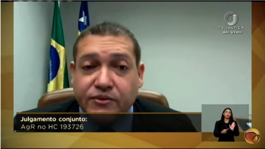 Kássio Nunes Marques durante votação: ele tomou como verdade trecho da denúncia do Ministério Público Federal, que o próprio Moro ignorou em sua sentença - Reprodução/Youtube