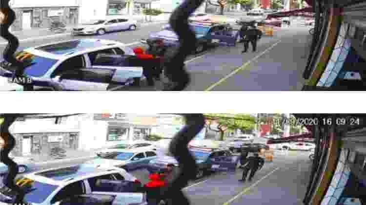 Imagens de câmera de segurança mostram momento em que testemunha é chamada por policiais  - Reprodução/SSP - Reprodução/SSP
