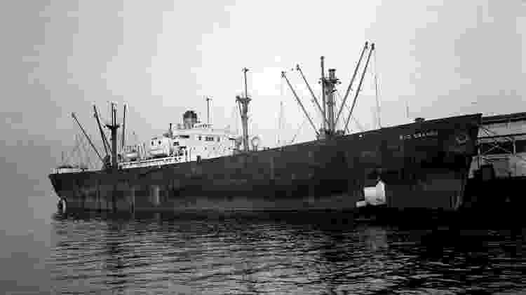 O navio nazista SS Rio Grande, afundado em 4 de janeiro de 1944 pela Marinha dos EUA - Reprodução do site Sixtant - Reprodução do site Sixtant