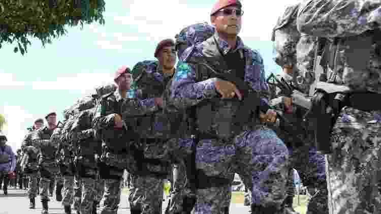 Força Nacional durante desfile de apresentação para atuação no estado em 2012 - PAULO RIOS/Divulgação - PAULO RIOS/Divulgação