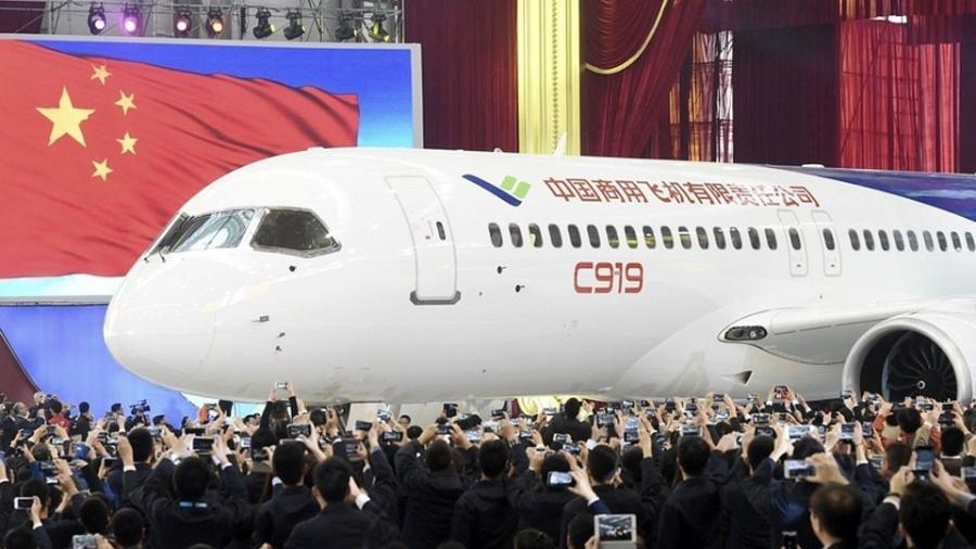 C919, da Comac (Commercial Aircraft Corporation of China), fabricante de aeronaves estatal chinesa - Divulgação