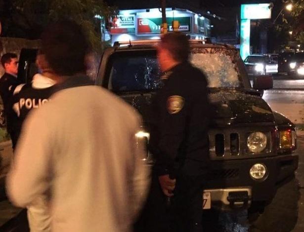 Carro do empresário Jorge Rafaat Toumani, após ser atingido por disparos de armas